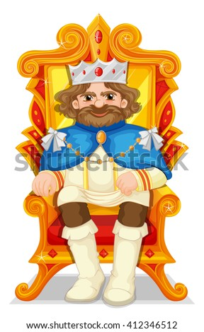 King sitting on the throne illustration