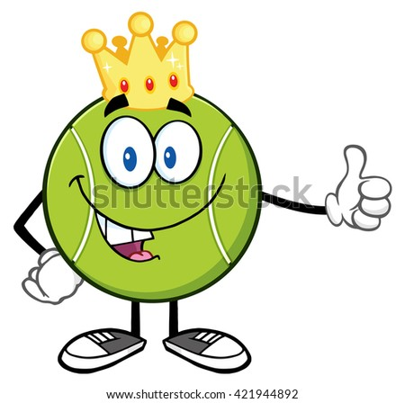 King Tennis Ball Cartoon Mascot Character Giving A Thumb Up. Vector Illustration Isolated On White - stock vector