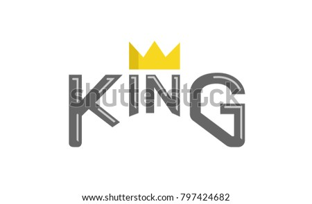 King Typography Gold Crown Text Logo Stock Vector Royalty Free