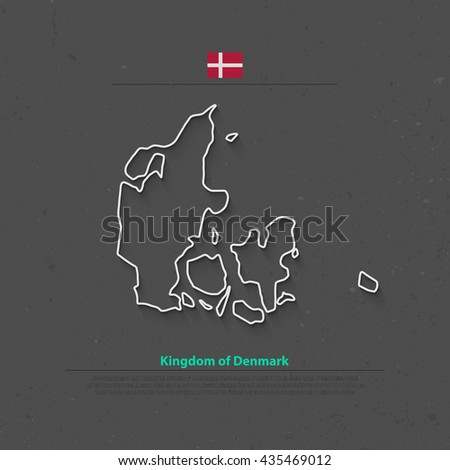 Kingdom of Denmark isolated map and official flag icons. vector Danish political map thin line icon. Nordic Country geographic banner template. travel and business concept map - stock vector