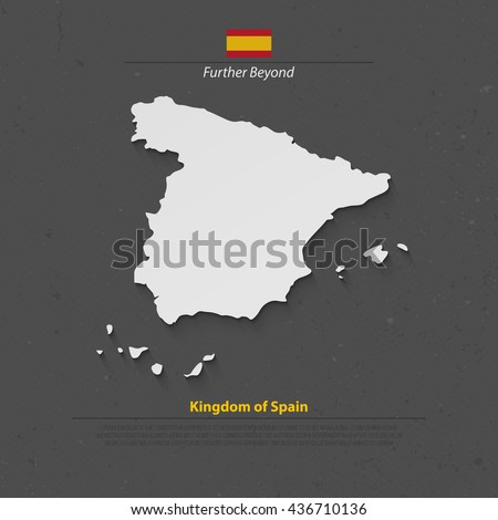 Kingdom of Spain isolated map and official flag icons. vector Spanish political map 3d illustration over paper texture. EU geographic banner template. travel and business concept maps - stock vector