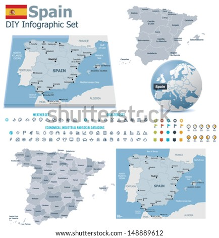 Kingdom of Spain maps with markers - stock vector