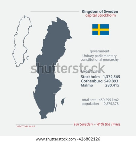 Kingdom of Sweden isolated maps and official flag icon. vector Swedish political map icons with general information. Swede geographic banner template. travel and business concept map - stock vector