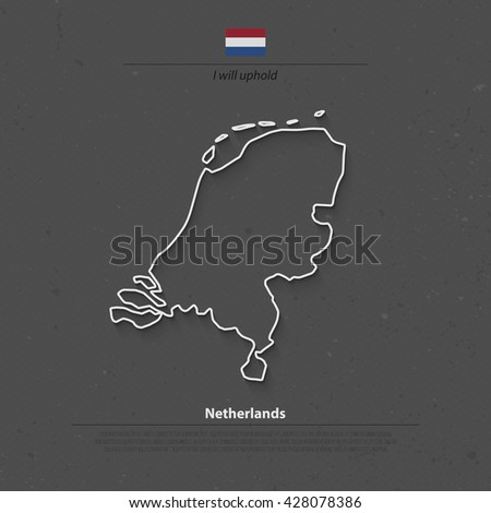 Kingdom of the Netherlands isolated map and official flag icons. vector Dutch political map thin line icon. EU geographic banner template. travel and business concept maps - stock vector