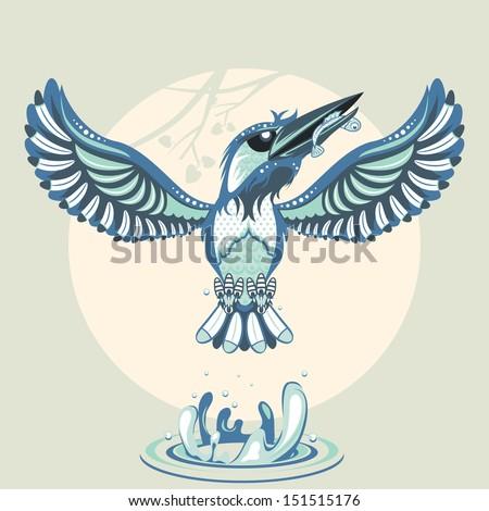 Kingfisher - stock vector