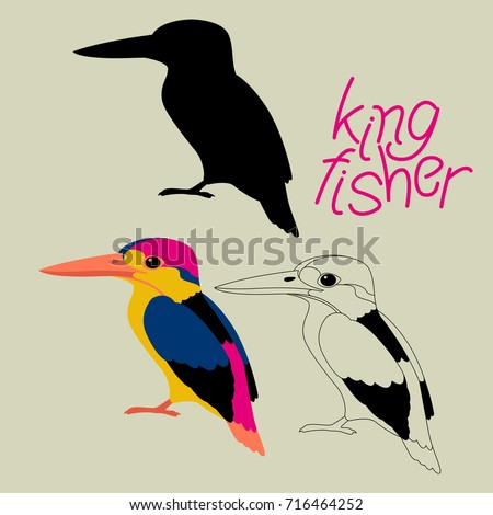 kingfisher bird vector illustration black silhouette line drawing
