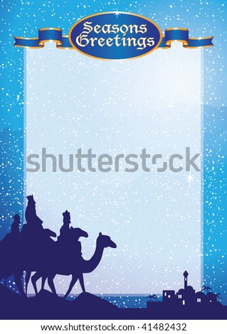 kings christmas background a3 vert - stock vector