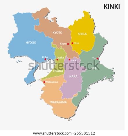 kinki region map - stock vector