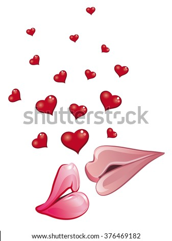 kiss and love - stock vector