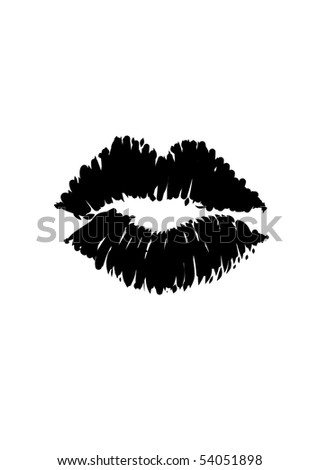 Kiss Lipstick Smudge Vector Lips - stock vector
