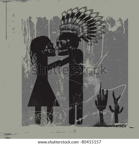 kiss me - kiss me - kiss me, love between monsters - stock vector