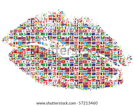 kiss of the world - stock vector