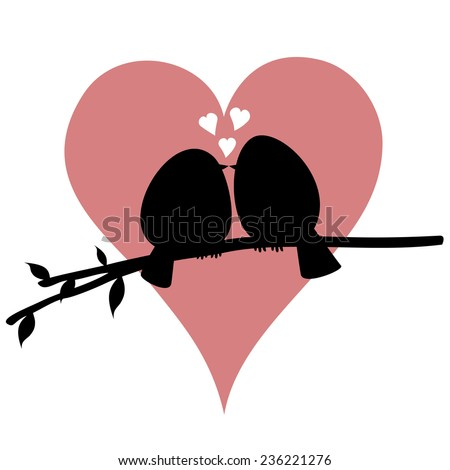Kissing birdies on a branch - A bird couple is feeling love (silhouette)! - stock vector