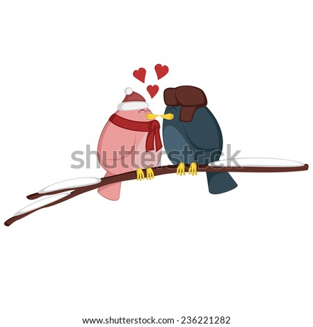 Kissing birdies on a branch - A pink girl and a blue boy bird couple is feeling love (Winter edition)! - stock vector