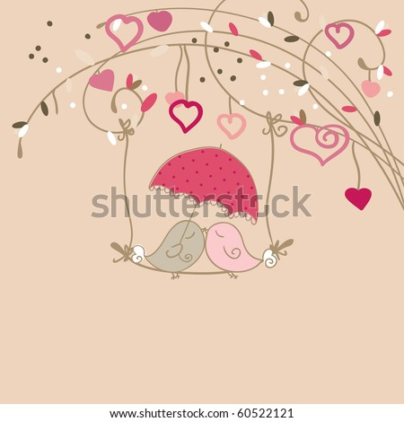 kissing birds - stock vector
