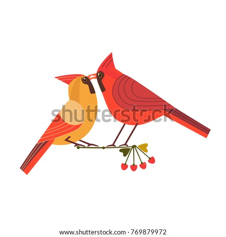 Kissing Birds Icon Two Red Cardinals Stock Vector 769879972
