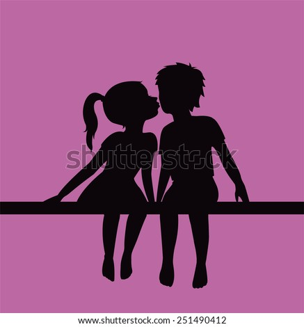 Kissing children silhouette - stock vector