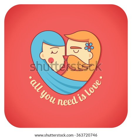 Kissing couple flat illustration. Man and woman logo in the shape of a heart. Valentine's day, psychology of family relations, wedding label and icon element. All you need is love lettering. - stock vector