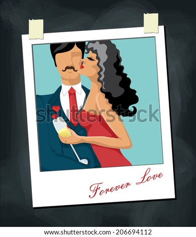 Kissing couple Man and woman.Polaroid  Picture on blackboard.Forever love.Cartoon Vector illustration - stock vector