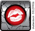 kissing lips gray cracked web button - stock vector