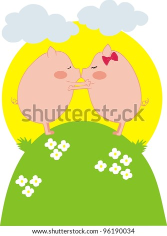 kissing pigs couple - stock vector