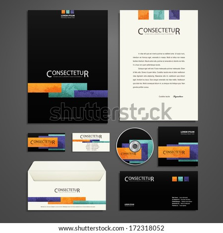 Kit of identity solutions for corporate or business which includes CD cover, business card, letter head designs. All in EPS10 - stock vector