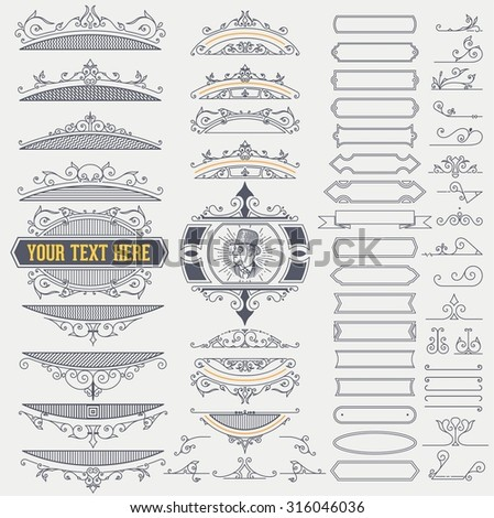 Kit of Vintage Elements for  Banners, Invitations, Posters, Placards, Badges or Logotypes. - stock vector