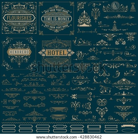Kit of Vintage resources for Invitations, Banners, Posters, Placards, Badges or Logotypes - stock vector