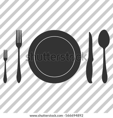Kitchen accessories fork knife spoon and plate silhouette
