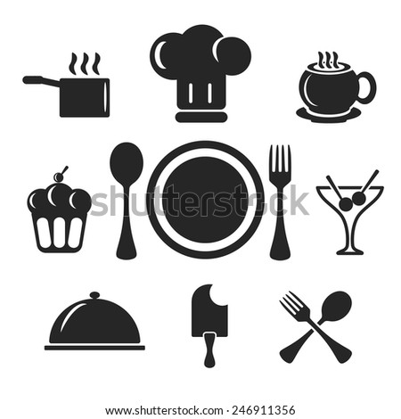 Kitchen and cook vector web and mobile logo icons isolated on white back. Symbols of cocktail, cake, toques, ice cream, spoon, fork, plate, coffee, cup, pan