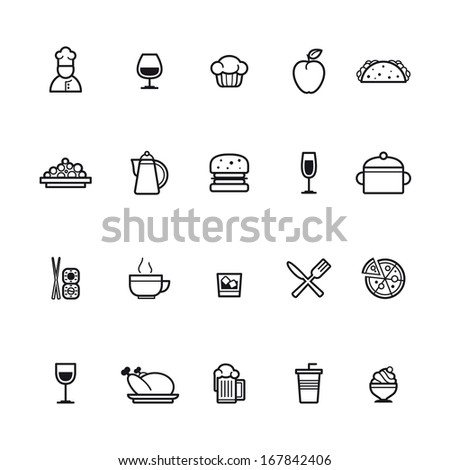 kitchen and cooking icons - stock vector