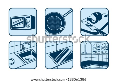 Kitchen and cooking icons set - stock vector