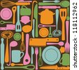 Kitchen and cooking utensils and cutlery - seamless pattern - stock vector