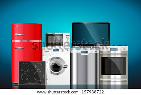 Kitchen and house appliances: microwave, washing machine, refrigerator, gas stove, dishwasher, tv.  - stock vector