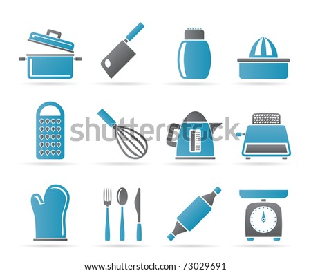 Kitchen and household Utensil Icons - vector icon set - stock vector