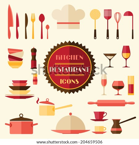 Kitchen and restaurant icons. Set of utensils. - stock vector