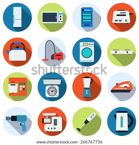 Kitchen appliances colorful vector icons. Flat design style elements collection. - stock vector