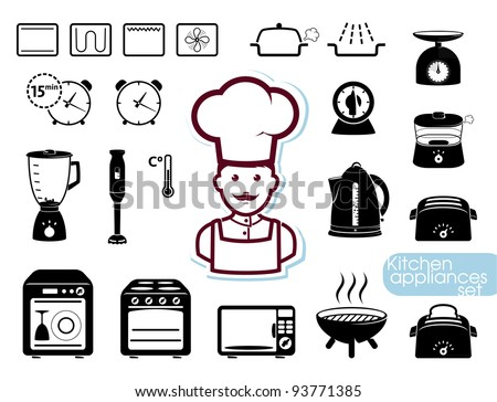Kitchen appliances set - stock vector