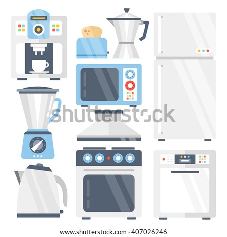 Kitchen appliances set. Coffee machine, toaster, refrigerator, coffee maker, blender, juicer, microwave, electric kettle, stove, dishwasher, kitchen extractor fan. Flat icons. Vector illustration - stock vector