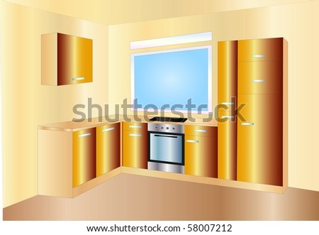 kitchen ( background on separate layer ) - stock vector