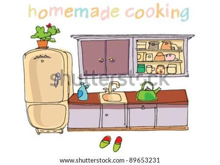 kitchen - cartoon - stock vector