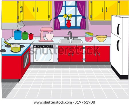 Kitchen Clean Background Stock Vector 319761908 - Shutterstock