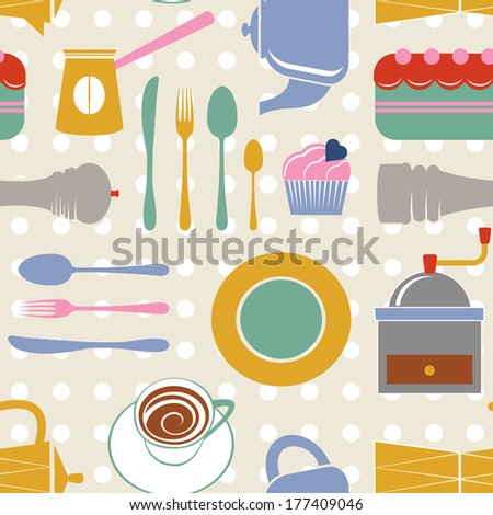 Kitchen colorful seamless pattern - stock vector