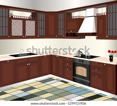 Vector illustration isometric view kitchen furniture stock for Kitchen design vector