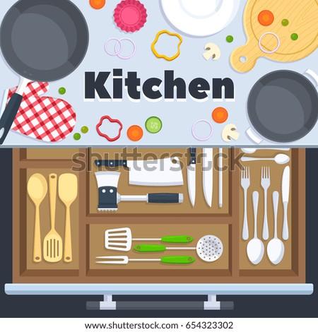 Kitchen design vector background cooking restaurant stock for Kitchen design vector