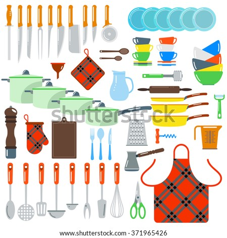 Kitchen dishes vector flat icons isolated on white background. Kitchen sign tools. Everyday dishes icons symbols isolated