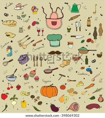 Kitchen doodle set - stock vector
