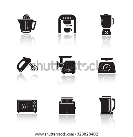 Kitchen electronics drop shadow icons set. Kitchenware electric appliances items. Consumer household cooking devices. Black silhouette illustrations isolated on white. Vector infographics elements