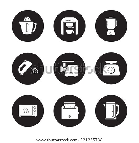 Kitchen electronics icons set. Modern home kitchen devices silhouette symbols. Kitchenware tools white illustrations on black circles. Meat grinder and electric kettle. Vector infographics elements - stock vector
