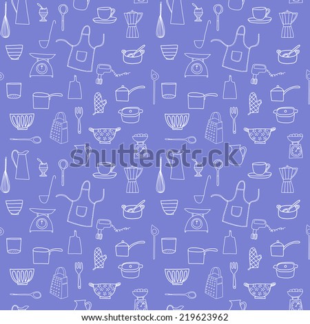 Kitchen equipment isolated vector hand drawn doodle icons in white on a blue ground - stock vector